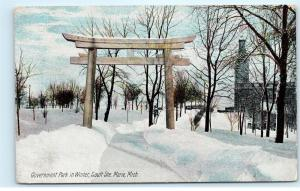 Sault Ste Marie MI~Government Park In Winter~Wooden Arch Over Sidewalk~1910 A74