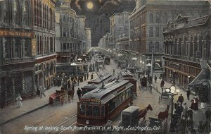 Spring Street Looking South, at Night, Los Angeles, CA., Postcard, Used in 1909
