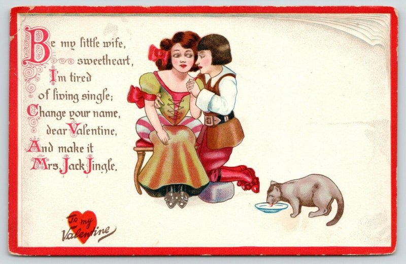 TUCK Valentine~Little Nursery Lovers~Mrs Jack Jingle~Cat Laps Milk~Book Border