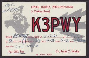 K3PWY Upper Darby,PA QSL Postcard