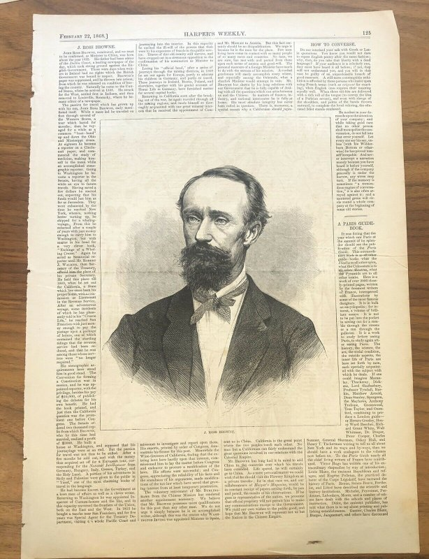 J Ross Browne - Harpers Weekly - Minister - Antique Page - 1868 Civil War Print