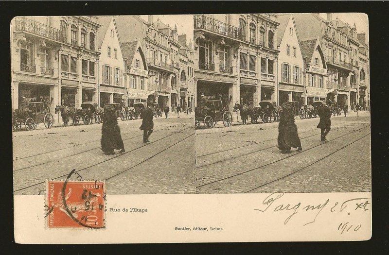 Postmarked 1910 Stereoview Photo Postcard Rue de LÉtape Reims France