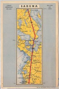 53169 -  VINTAGE POSTCARD - ADVERTISING - SABENA airways BELGIUM - MAP
