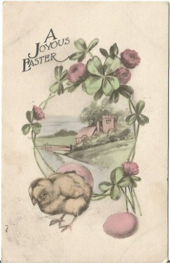 A Joyous Easter Pink Clover Chicks Hatching Postage 1 Cent Canada EASTER