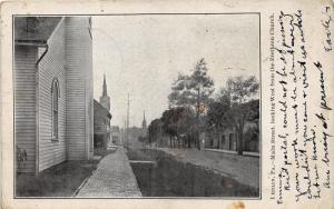 Berlin Pennsylvania~Main Street West @ Brethren Church~1907 B&W Postcard