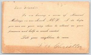 Aurora to Lamont Iowa~Revival Meeting Invitation~1917 Christler to Chas Crow PC