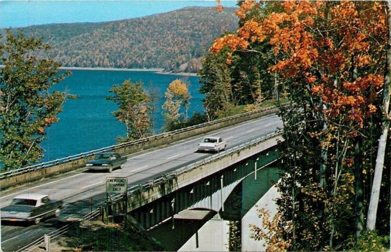 Warren Pennsylvania~Kinzua Dam Bridge~Devil's Elbow~Route 59~Fall~1960s Postcard