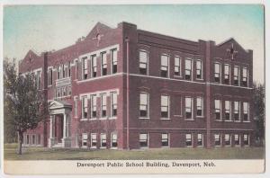 1913 DAVENPORT Nebraska Nebr Postcard PUBLIC SCHOOL BUILDING