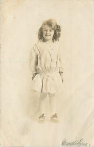 Detroit Michigan~Curly Hair Little Girl in White Dress, Bows on Her Feet~1909