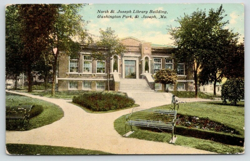 North St Joseph MO~Washington Bluff Carnegie Library~Green Garden Bench~1913 PC