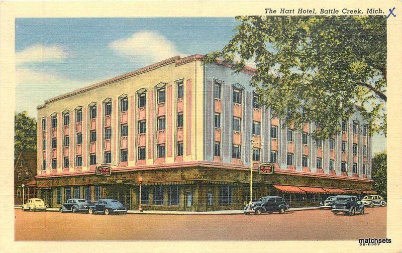 1930s Hart Hotel Battle Creek Michigan Linen Teich Postcard 2069