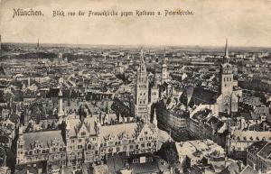 Munchen Blick von der Frauenkriche Rathaus Town Hall Church Postcard