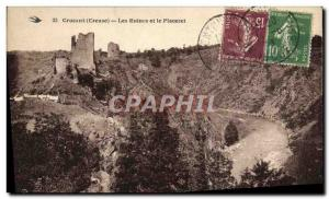 Old Postcard Crozant Ruins and placeret