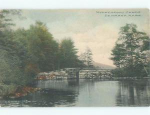Pre-1907 BRIDGE AT CAMPGROUND Denmark Maine ME F0159