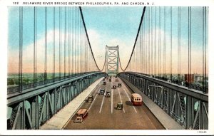 New Jersey Delaware River Bridge Between Philadelphia and Camden Curteich