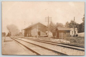 Wyanet Illinois~Train Arrives at Depot~Railroad Station Workers~c1910 RPPC