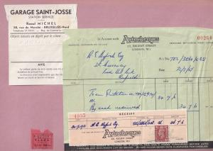 Autocheques Saint Josse French Garage London 3x Old Receipt s