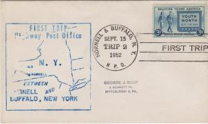 FIRST TRIP HIGHWAY POST OFFICE mail between Hornell & Buffalo, NY, 1952