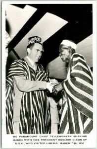 1957 RICHARD NIXON in Liberia Real Photo RPPC Postcard / Stamp & Monrovia Cancel