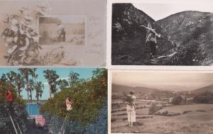Lady Carry Tree Log Wood Fruit Picking Roofing Social History 6x Postcard Bundle