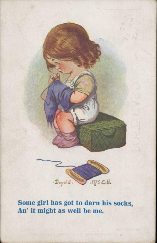 little girl sewing socks comic artist signed Donald McGill