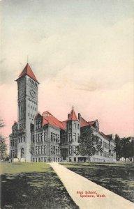 High School, Spokane, WA ca 1910s Hand-Colored Vintage Postcard