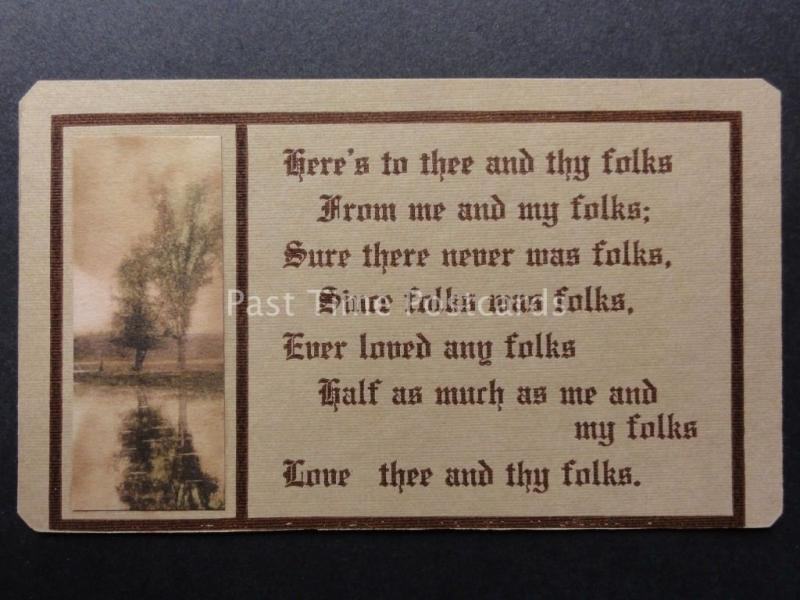 Verse & Poem: HERE'S TO THEE AND THY FOLKS, FROM ME AND MY FOLKS - c1907