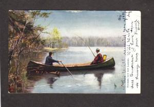 Fishing Canoe Hooked Fish Adirondacks New York NY Oilette Tuck and Sons Postcard