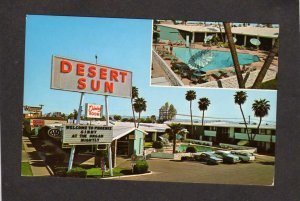 AZ The Desert Sun Hotel Motel Phoenix Arizona Postcard Pool Cars