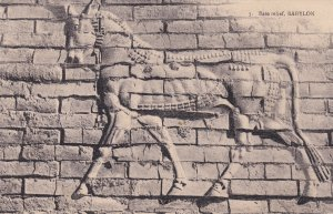 Babylon Bass Relief Iraq Horse Mural Antique Postcard