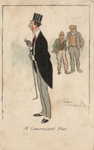AS; MORELAND, PU-1904; A Convenient Flat, Men smiling at Gentleman in tuxedo