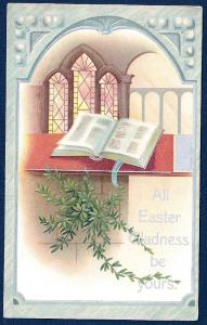 Easter Gladness Open Bible Stain Glass Window unused c1910's