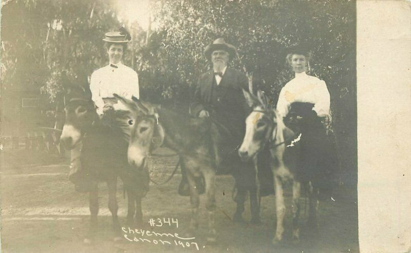 Cheyenne Colorado Women Donkeys 1907 RPPC Photo Postcard 21-7427