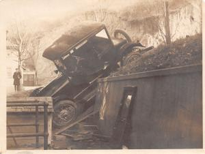 Real Photo~Vintage Automobile Wreck by Dog House~Model T~School Avenue~c1914