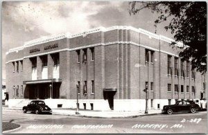 1950s MOBERLY, Missouri RPPC Photo Postcard MUNICIPAL AUDITORIUM Street View