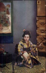 TUCK Oilette - Japanese at Home Woman Playing Music c1910 Postcard