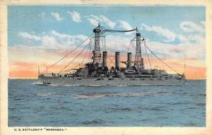 U.S. Battleship Nebraska, White Border, Publ  S. Gold, Chicago, Old Postcard