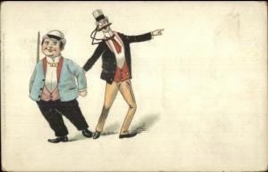 Short Fat Man Tall Skinny Man Fancy Clothes Swedish Comic c1905 Postcard