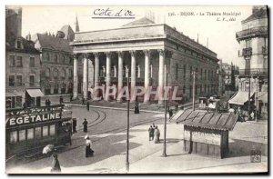Old Postcard Dijon Municipal Theater Tram Vegetaline