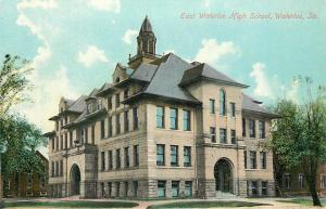 Waterloo Iowa~East Waterloo High School~Houses in Background 1910 Postcard