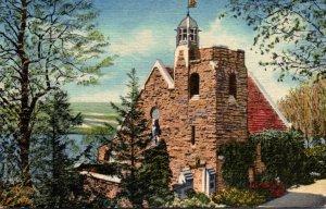 New York Keuka Lake Bluff Point Garrett Memorial Chapel 1954 Curteich