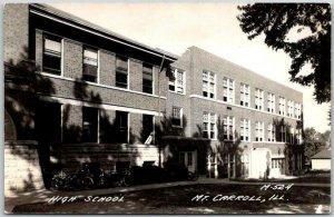 MOUNT CARROLL, Illinois RPPC Photo Postcard HIGH SCHOOL Building View c1940s