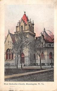 Mannington West Virginia~First Methodist Church~1907 Postcard