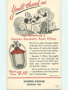 Unused Linen Dealer Ad CARTER FUEL FILTER FOR CAR MILEAGE Granton WI v4956-49