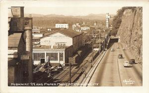 Oregon City OR Paper Mills Highway 99 Old Cars RPPC Postcard