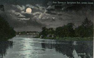 LONDON , Ontario , Canada , 1909 ; River Thames , Springbank Park at night