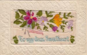 Embroidered Flowers & USA Flag insert card , To my dear sweethart, 00-10s