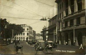 singapore, Raffles Quay, Rickshaw, Car (1920s) RPPC Postcard