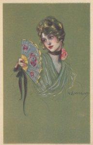 ART DECO ; ZANDRINO ; Woman with a fan; #4 , 1910-20s