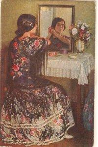 Juan Cardone. spanish Lady. Before the party Nice spanish postcard 1920s